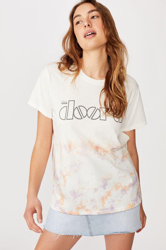 Classic Band T Shirt, LCN ME THE DOORS TIE DYE LOGO/GARDENIA