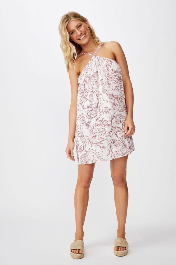Woven Haven Halter Mini Dress, CALI PAISLEY SUMMER CASSIS