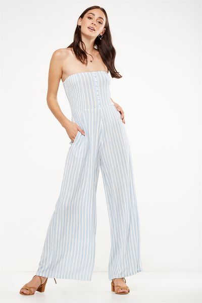 Woven Aspen Off The Shoulder Jumpsuit, BLUE HAZE/WHITE MARTHA STRIPE