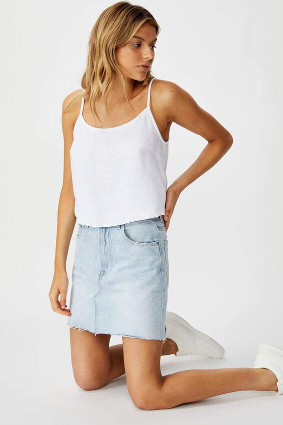 Astrid Cropped Scoop Neck Cami, WHITE COTTON