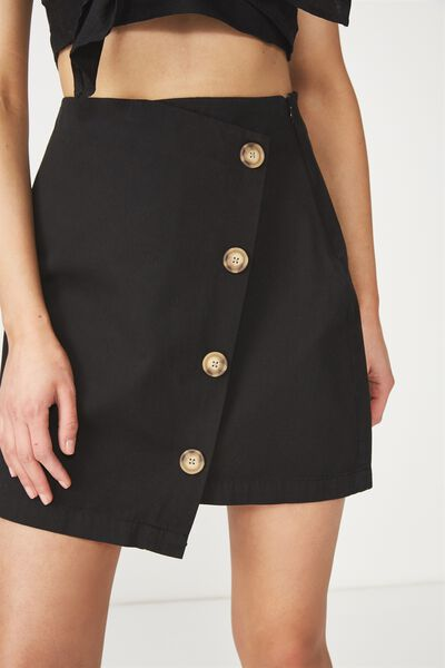 Woven Lulu Mini Skirt, BLACK