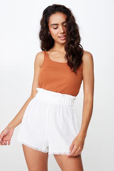 Mila Paperbag Short, WHITE