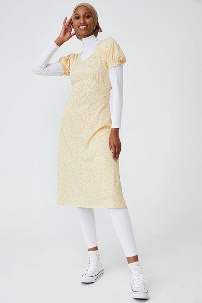 Elina Short Sleeve Midi Dress, ASHLEE DITSY LEMON