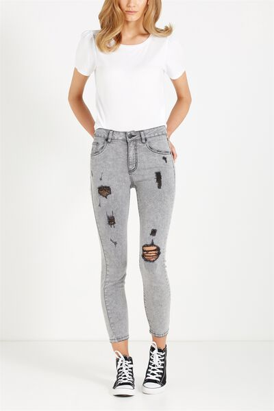Mid Rise Grazer Skinny Jean, WASHED BLACK/GREY RIPS