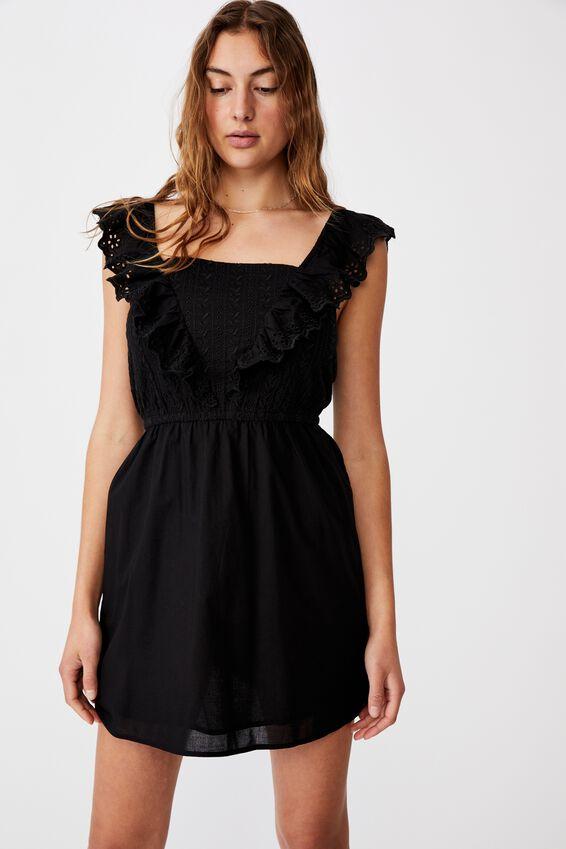 Woven Debby Ruffle Mini Dress, BLACK