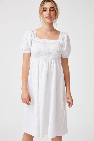 Woven Petite Leah Short Sleeve Midi Dress, WHITE