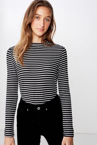 6cc9e8d76f0c O The Girlfriend Long Sleeve Top, BETTY STRIPE BLACK/WHITE. Cotton On Women