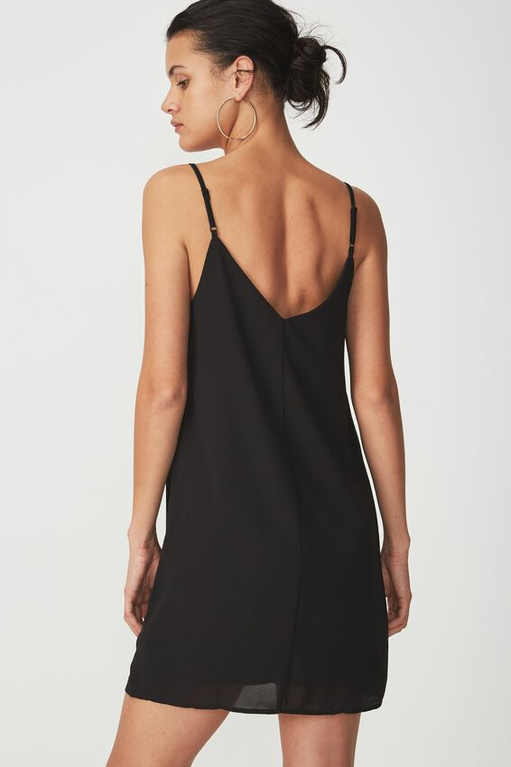 Woven Margot Slip Dress, BLACK