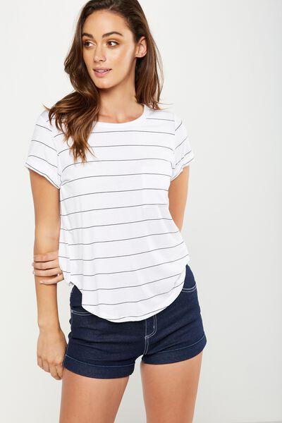 Kathleen Short Sleeve Top, PIP STRIPE WHITE/BLACK