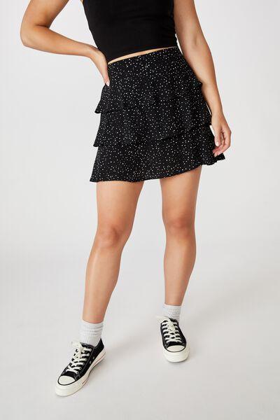 Byron Tiered Mini Skirt, KAT SPOT BLACK