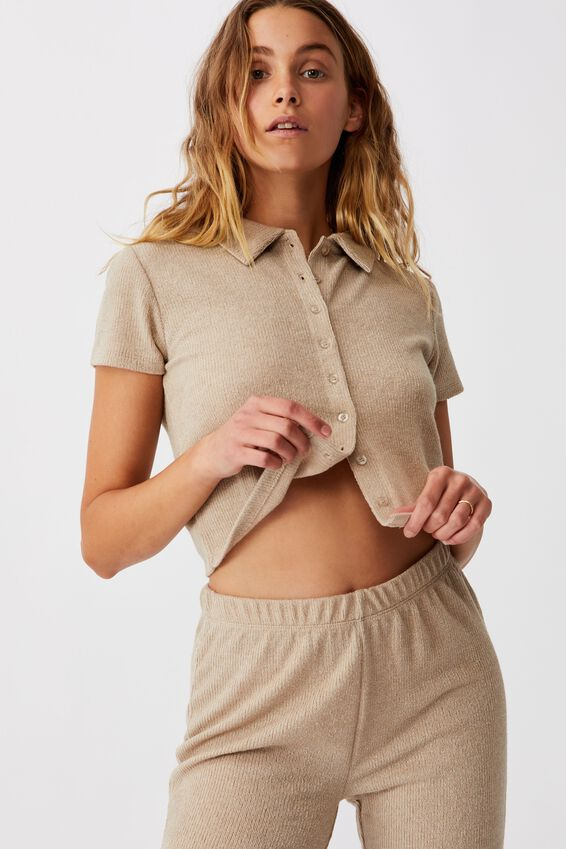 Carmel Textured Rib Short Sleeve Top, FLAX GREY