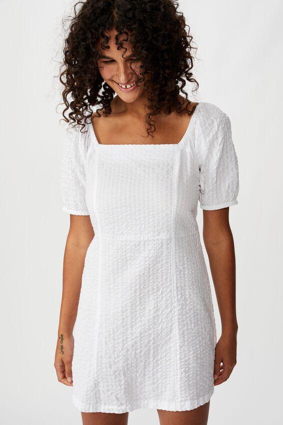 Woven Taylor Puff Sleeve Mini Dress, WHITE