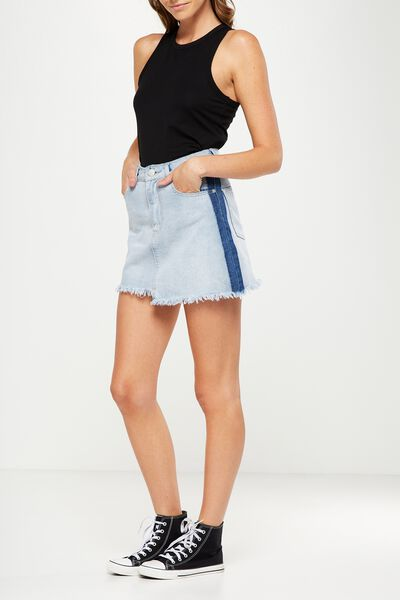 A Line Mini Denim Racing Stripe Skirt, BLEACH BLUE