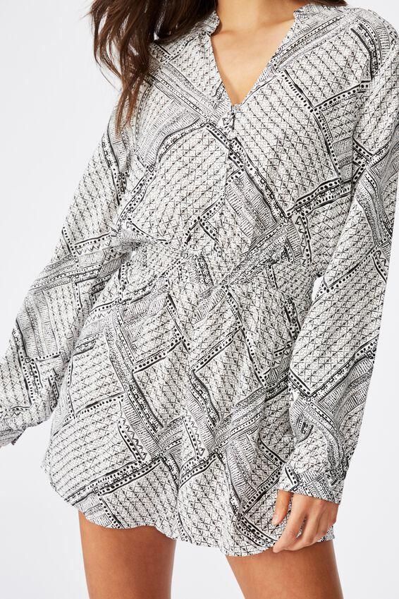 Woven Luella Long Sleeve Playsuit, BILLIE SPLICED GEO BLACK