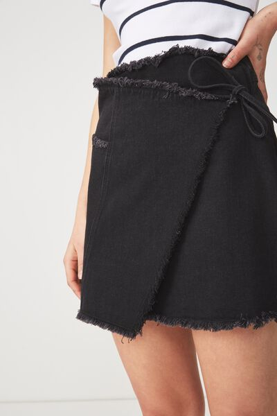 Wrap Denim Mini Skirt, BLACK