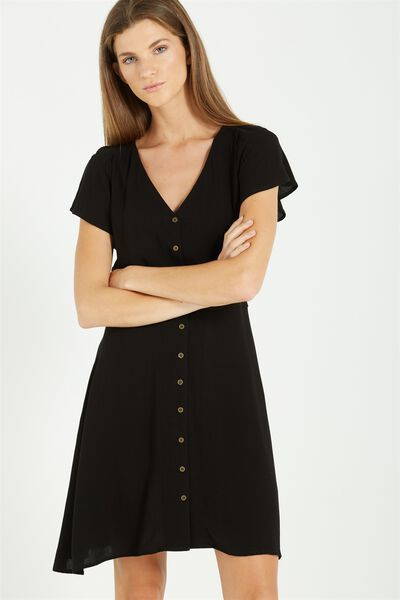 Woven Bianca Short Sleeve Tea Dress, BLACK