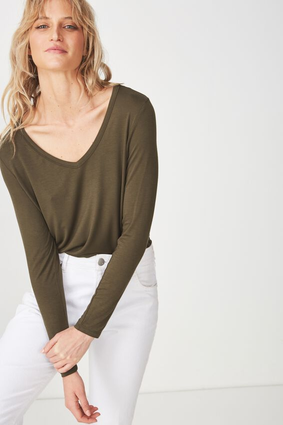 Karly Long Sleeve Top, UTILITY KHAKI