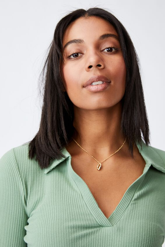 Zoe Polo Long Sleeve Top, PISTACHIO