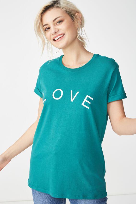 Tbar Fox Graphic T Shirt, LOVE/TEAL GREEN