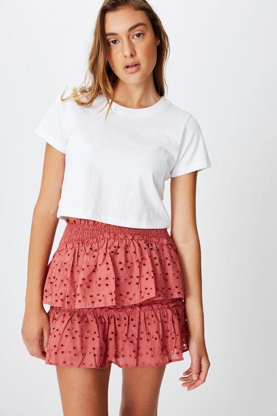 Ellie Broderie Mini Skirt, CANYON ROSE