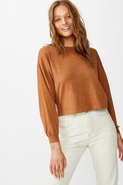 Reid Chop Blouson Long Sleeve Top, SIERRA