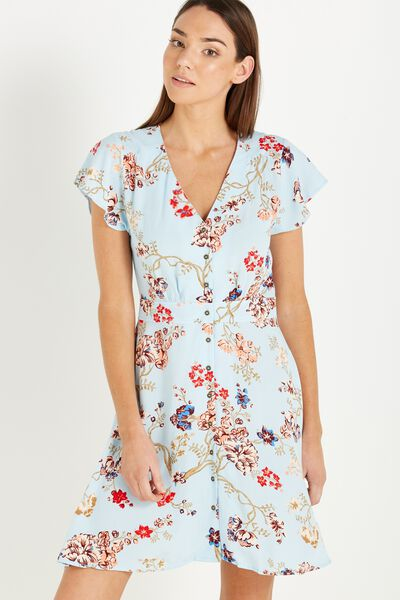 Woven Bianca Short Sleeve Tea Dress, TASIA FLORAL CORYDALIS BLUE