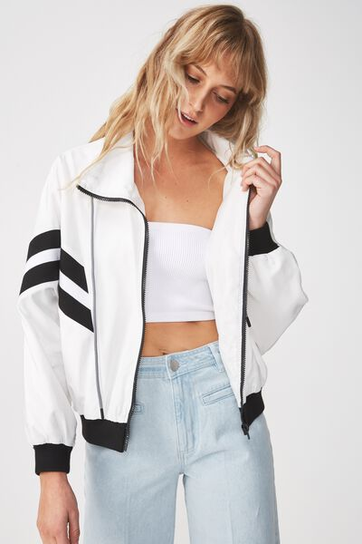 Mia Ribbed Spray Jacket, WHITE/BLACK