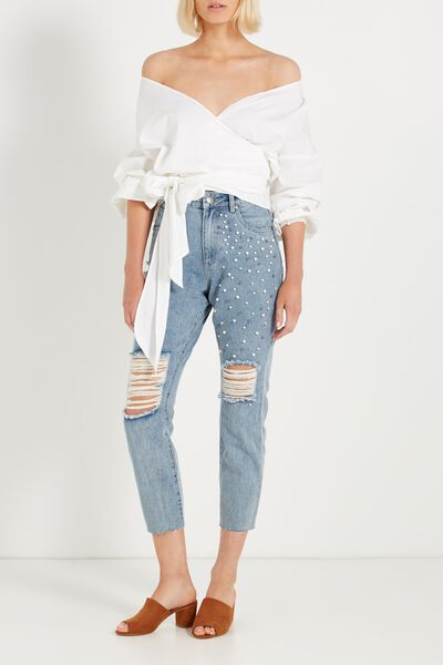 High Rise Relaxed 90S Jean, VINTAGE DENIM PEARLS