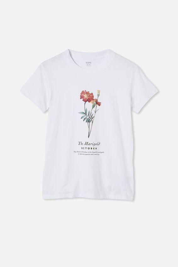 Classic Birthday Flower Graphic T Shirt, OCTOBER BIRTHFLOWER/WHITE