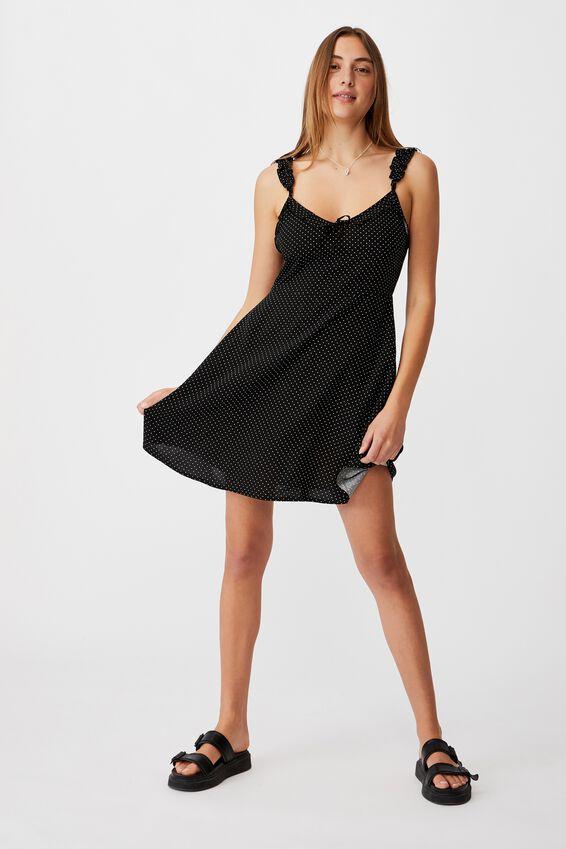 Woven Quinn Ruffle Strap Mini Dress, TIFFANY SPOT BLACK