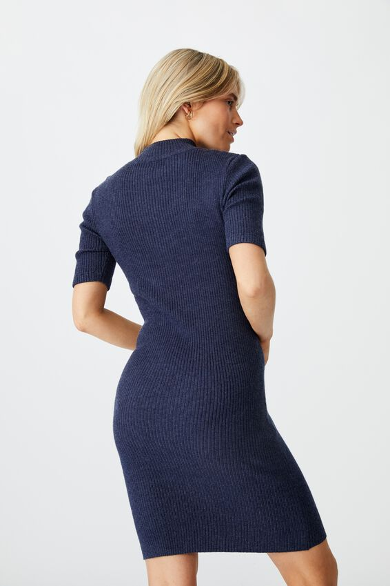 Tahlia True Knit Mini Dress, MIDNIGHT NAVY MARLE