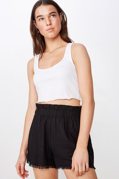 Mila Paperbag Short, BLACK