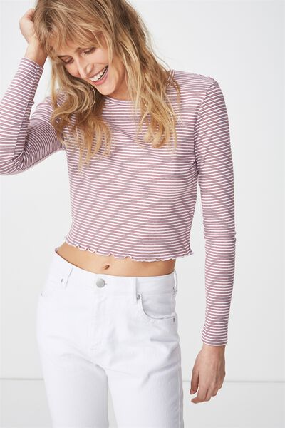 Shelly Crop Babylock Long Sleeve, RAY STRIPE WHITE/ROSEWOOD