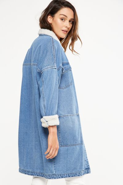 Sherpa Denim Trench Coat, MID BLUE