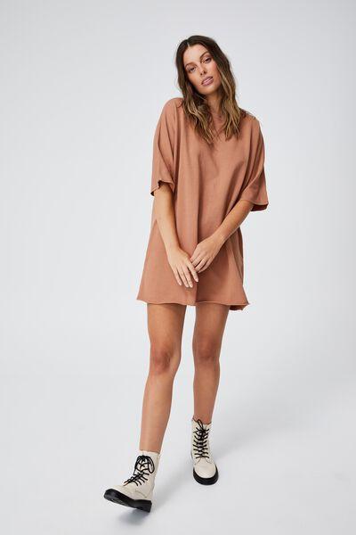The Easy Short Sleeve Crew Mini Dress, SOFT CAMEL