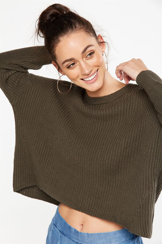 Archy Cropped Pullover, KHAKI