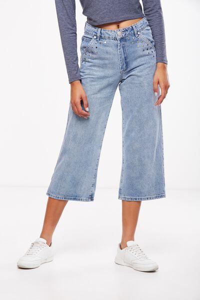 Mid Rise Wide Leg Crop Jean, BEDAZZLE BLUE