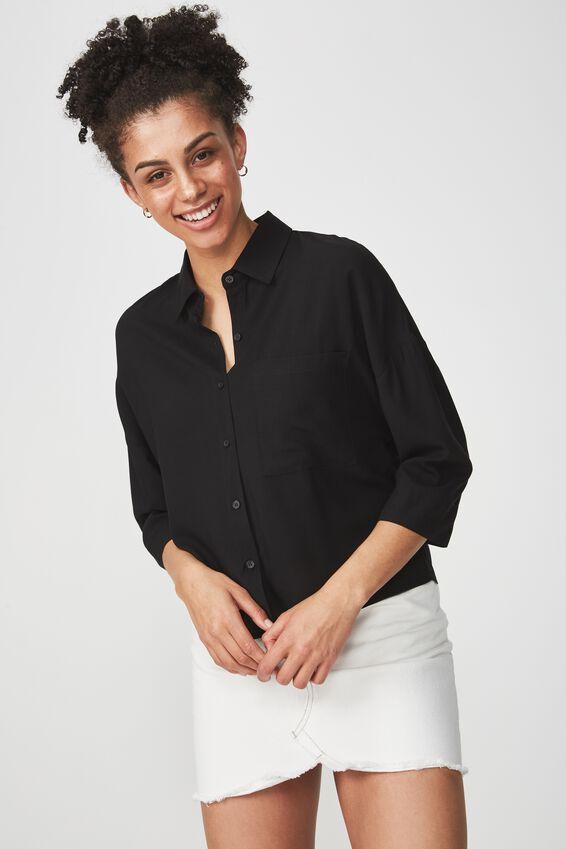 Rebecca Chopped Shirt, BLACK
