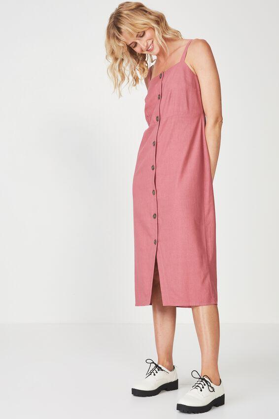 Woven Lush Button Through Midi Dress, DECO ROSE