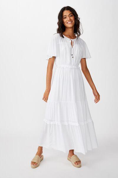 Woven Tabitha Short Sleeve Tiered Maxi Dress, WHITE