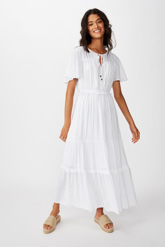 Woven Tabitha Short Sleeve Tiered Maxi Dress, WHITE