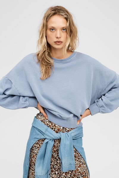 Cleo Balloon Sleeve Crew, COUNTRY BLUE GARMENT PIGMENT DYE