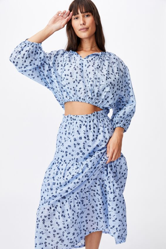 Float On Maxi Skirt, LAURA DITSY VINTAGE BLUE