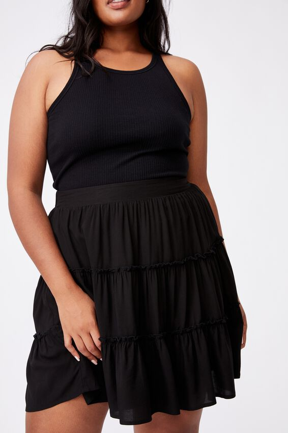 Curve Sky Skater Mini Skirt, BLACK