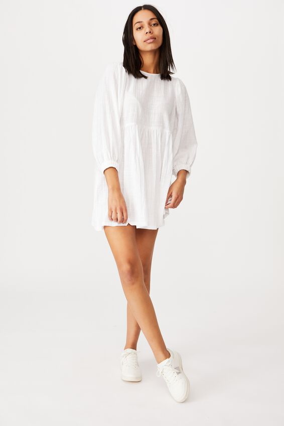 Woven Carly Smock Mini Dress, WHITE