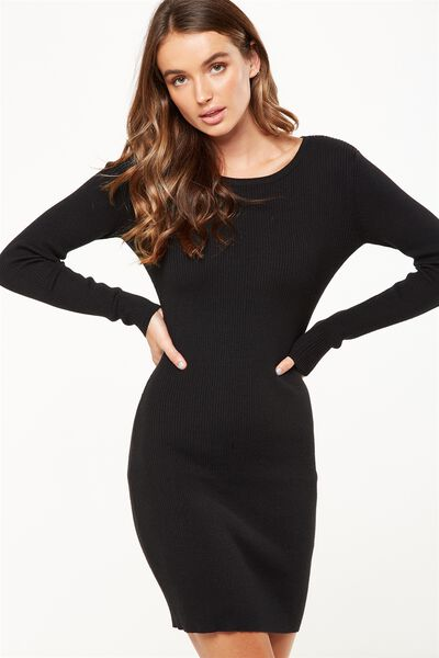 Sally Long Sleeve Midi Dress, BLACK