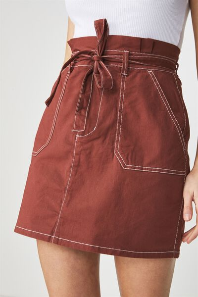 Woven Utility Twill Mini Skirt, RICH BROWN