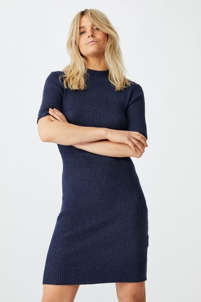 Tahlia True Knit Mini Dress, MIDNIGHT NAVY MARLE
