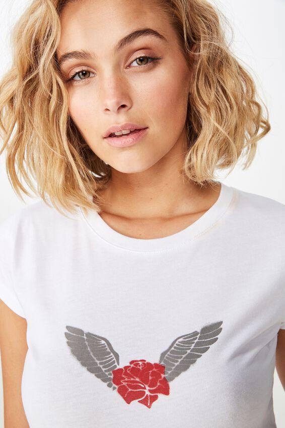 Essential Art T Shirt, ROSE WINGS/WHITE