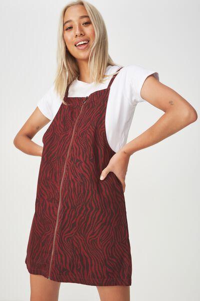Faith Denim Pinafore Mini Dress, SARAH ZEBRA COFFEE BEAN